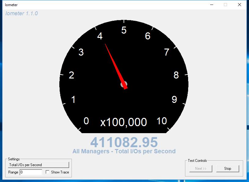 Kết quả tốc độ ghi ngẫu nhiên tính theo IOPS.