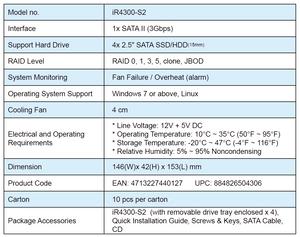 Thông số kỹ thuật của mô-đun RAID 5 gắn trong InTANK iR4300-S2.