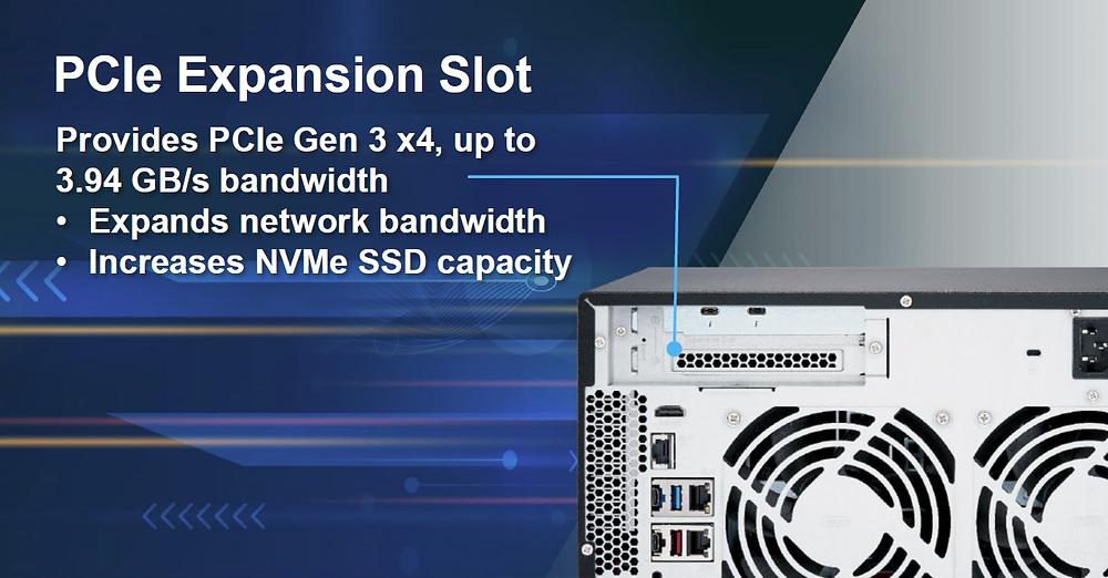 Khả năng mở rộng PCIe cho phép người dùng lắp đặt card QNAP QM2 để nâng bộ nhớ cache SSD M.2, hoặc bổ sung kết nối 10 GbE (10GBASE-T) cho máy chủ NAS.