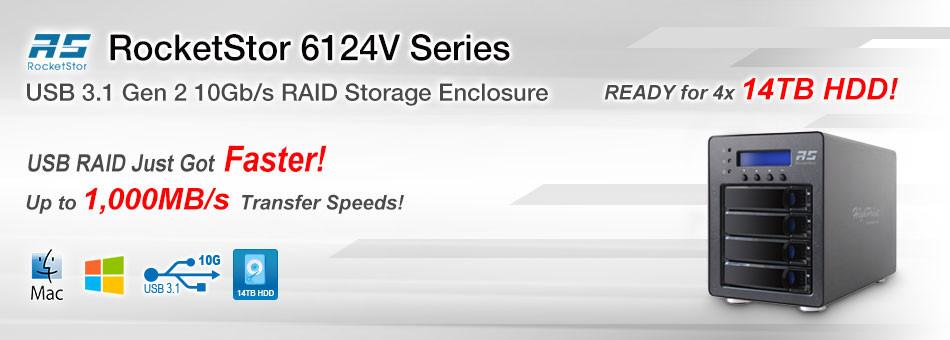 Với RocketStor 6124V, người dùng dễ dàng bổ sung hệ thống lưu trữ RAID 5 vào máy tính Mac và Windows bằng kết nối USB 3.1 hoặc Thunderbolt 3.