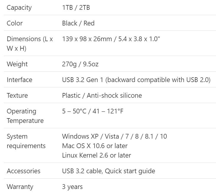 Thông số kỹ thuật của HDD di động ADATA HD770G.