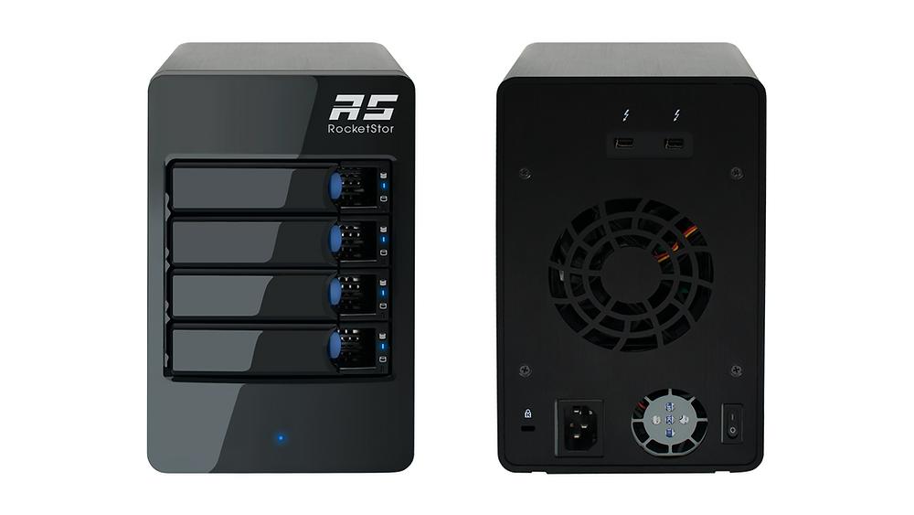 Mặt trước và mặt sau của hệ thống RAID cứng 4-khay Thunderbolt 3 HighPoint RocketStor 6314B.