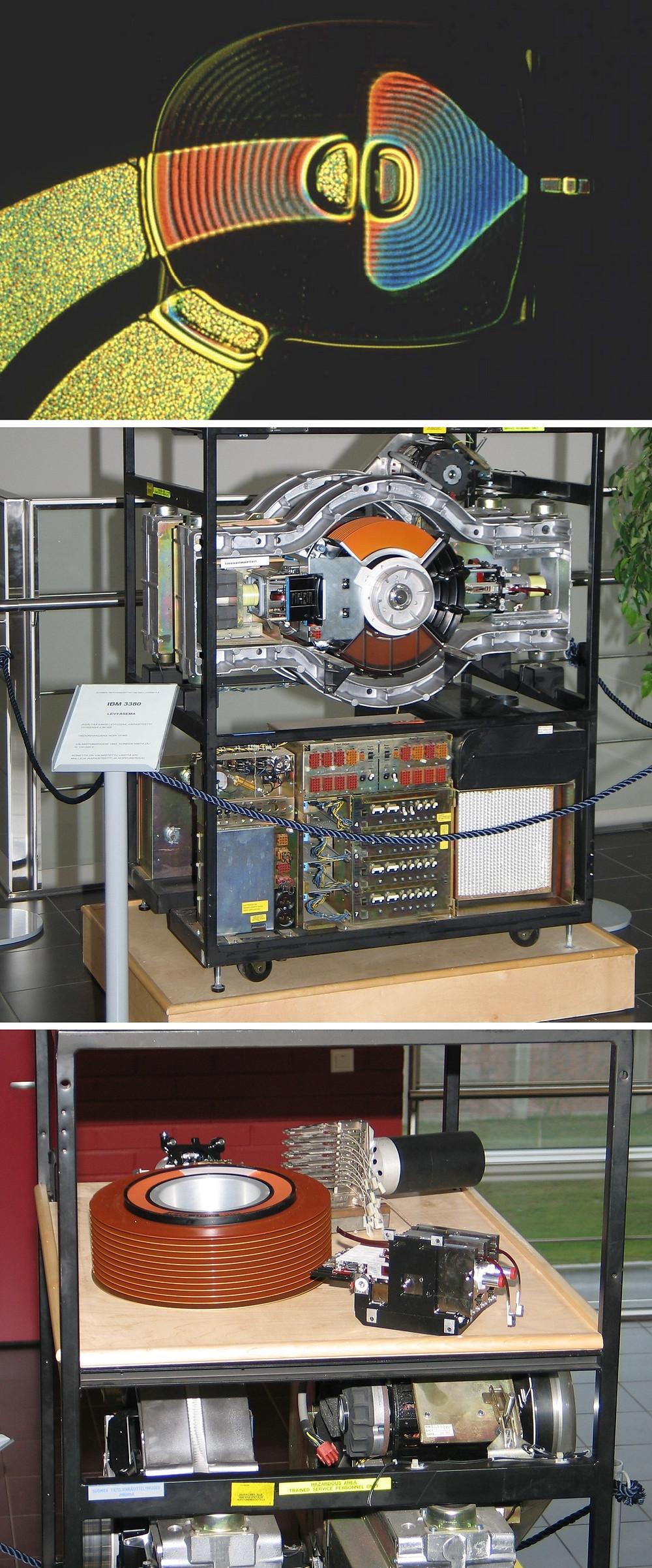 Cuộn dây đồng màng mỏng (trên cùng) được sử dụng trên đầu đọc/ghi của ổ cứng IBM 3380 (giữa). Ngăn phía trên HDD này (dưới cùng) là bộ đĩa di động và các đầu đọc/ghi khác nhau đã được tháo rời.