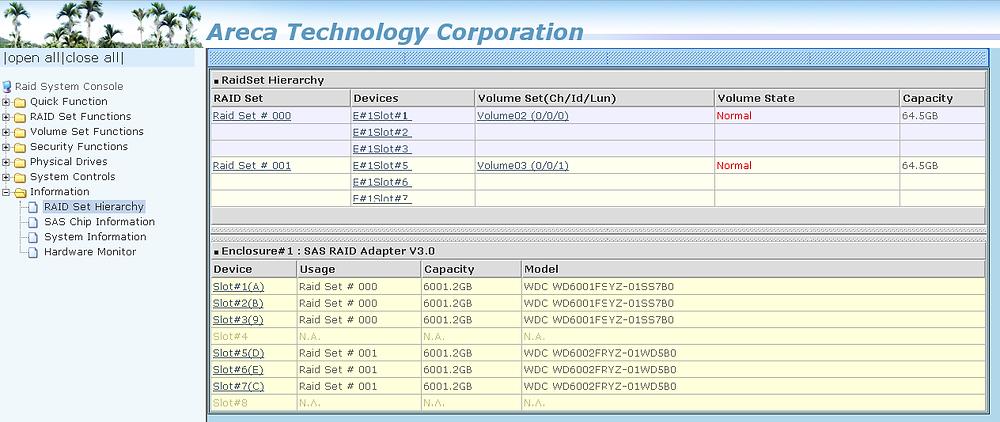 Giao diện trình quản lý cấu hình RAID dựa trên trình duyệt web của đầu RAID 1U ARC-9200.