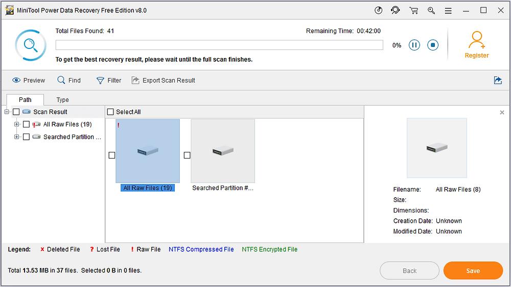Giao diện của MiniTool Power Data Recovery Free Edition v8.0 trong quá trình quét cứu dữ liệu USB bị format.