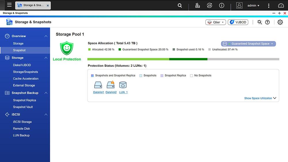 TS-963X chạy trên hệ điều hành QTS dành riêng cho thiết bị NAS của QNAP, hỗ trợ các chức năng quản lý lưu trữ mạnh mẽ như snapshot, JBOD ảo (Virtual JBOD).