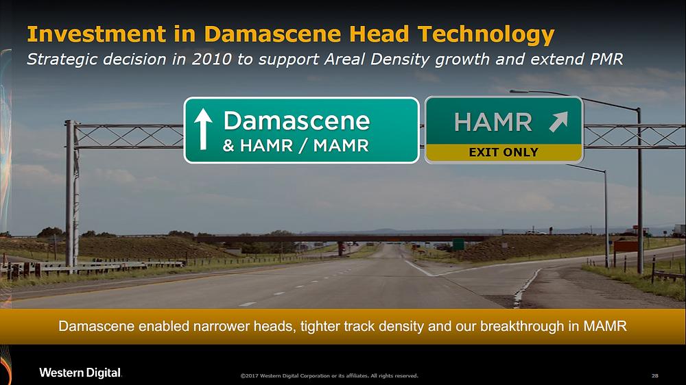 Sự đầu tư của WD vào công nghệ đầu từ Damascene. Damascene cho phép đầu từ thu hẹp hơn, mật độ track dày đặc hơn và mang đến bước đột phá trong công nghệ MAMR.