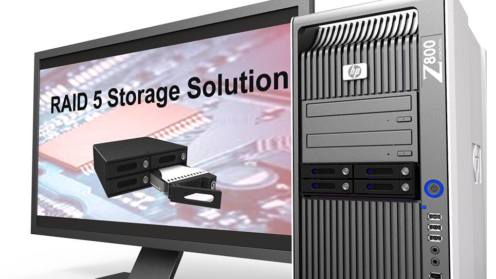 Mô-đun RAID gắn trong InTANK iR4300-S2 có kích cỡ bằng ổ CD-ROM, với 4 khay ổ đĩa, thiết kế dành cho ổ cứng (HDD) hoặc ổ đĩa thể rắn (SSD) 2.5 inch.