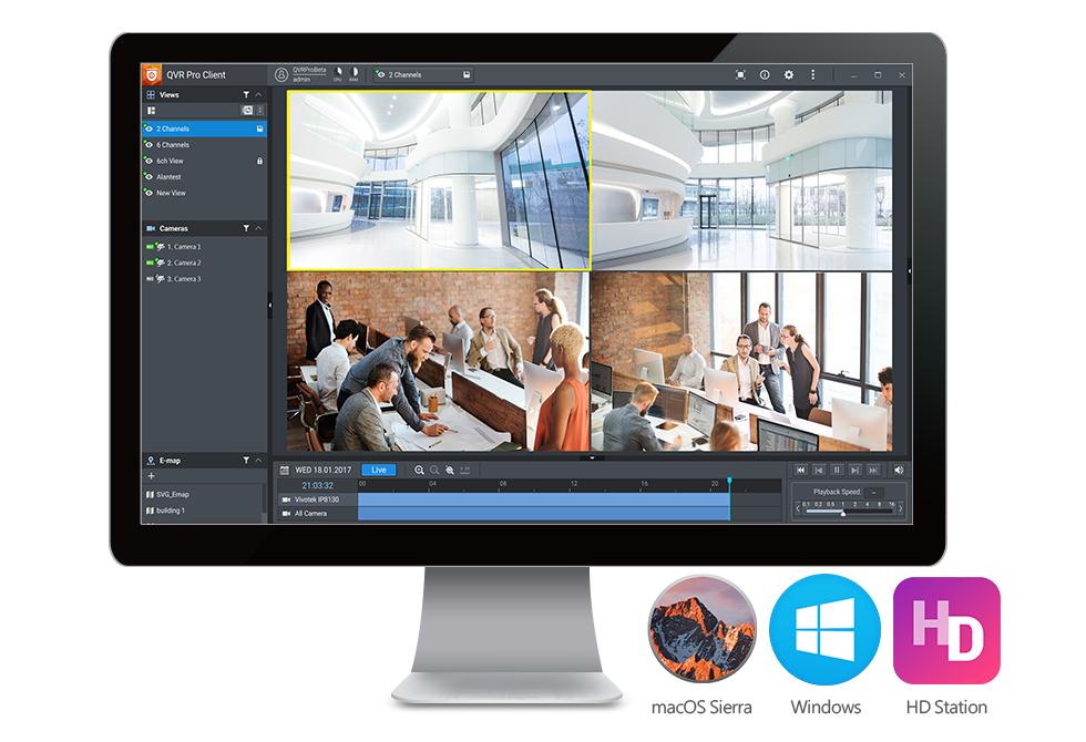 QVR Pro tích hợp các tính năng giám sát video vào QTS để mang đến cho người dùng một hệ thống quản lý giám sát thông minh.
