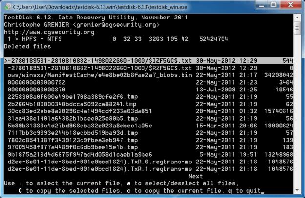 Giao diện phần mềm cứu dữ liệu TestDisk.