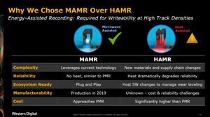 Tại sao chọn MAMR thay cho HAMR? Cả hai đều dùng phương pháp ghi bằng năng lượng: cần thiết để có được khả năng ghi ở mật độ track cao, nhưng MAMR vượt trội hẳn so với HAMR.