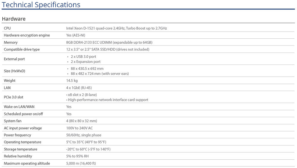 Thông số kỹ thuật của máy chủ NAS Synology RackStation RS3618xs.