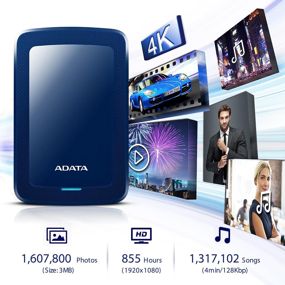 HV300 hiện có dung lượng 1TB, 2TB, 4TB và 5TB nhằm đáp ứng nhu cầu của người dùng trong việc sao lưu dữ liệu làm việc hoặc lưu trữ phim 4K.
