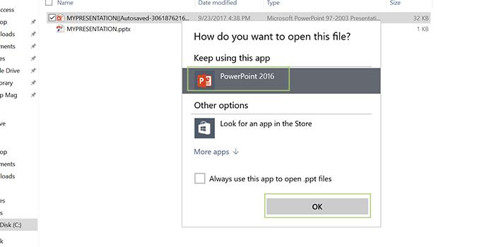 """BƯỚC 8: Chọn """"PowerPoint"""" và click """"OK""""."""