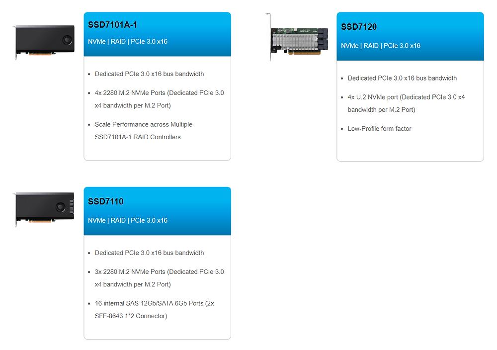 Giải pháp RAID NVMe PCIe 3.0 x16 được thiết kế cho các máy tính để bàn cao cấp, máy trạm chuyên nghiệp và nền tảng chơi game cấu hình tùy chỉnh.