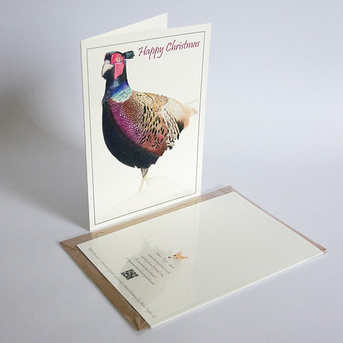 """""""Male Pheasant""""  5 Xmas Greeting Cards A6 when folded, with envelopes."""