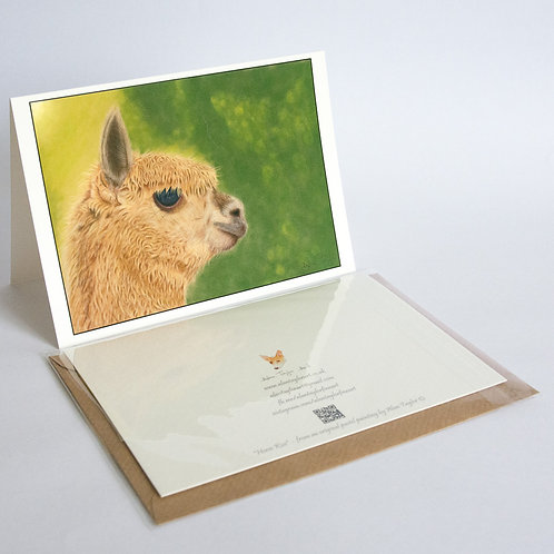 """""""Lady Gaia"""" - Alpaca.  5 Greeting Cards A6 when folded, with envelopes."""