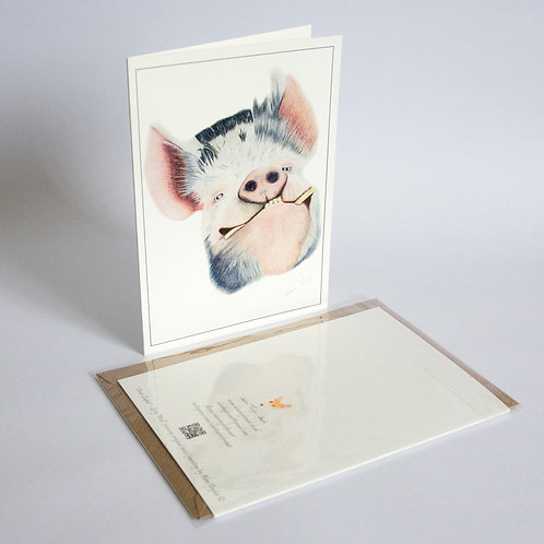 """""""Happy as ...""""  Kunekune Pig. 5 Greeting Cards A6 when folded, with envelopes."""