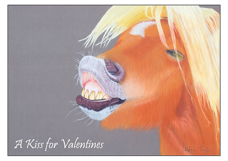"""""""Kiss for Valentines"""" Valentines Card A6 when folded, with envelope"""