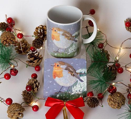 Robin Red Breast on Ceramic Mug with Coaster