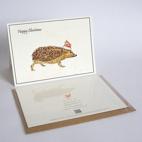 """Xmas Hog""   5 Xmas Greeting Cards A6 when folded, with envelopes."