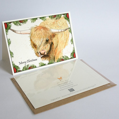 """""""Highland Cow"""" 5 Xmas Greeting Cards A6 when folded, with envelopes."""