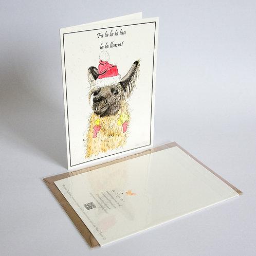 """Ramases"" Llama  5 Xmas Greeting Cards A6 when folded, with envelopes."