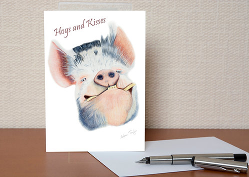 """Hogs and Kisses"" Valentines Card A6 when folded, with envelope"