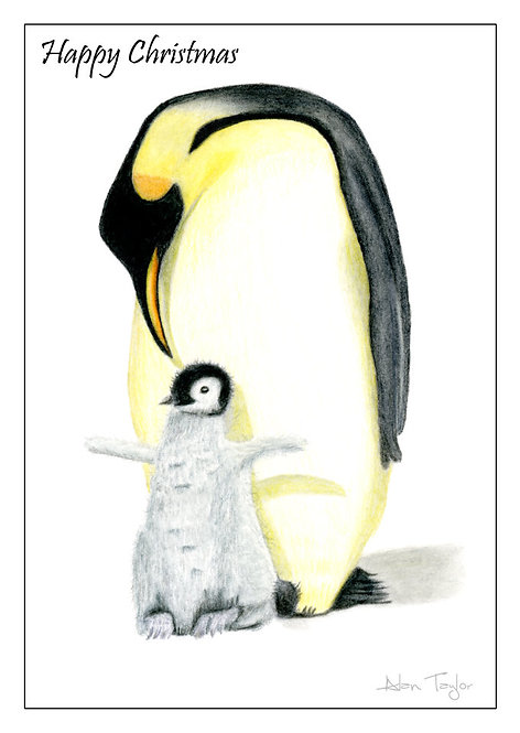 """Penguin & Chick""   5 Xmas Greeting Cards A6 when folded, with envelopes."
