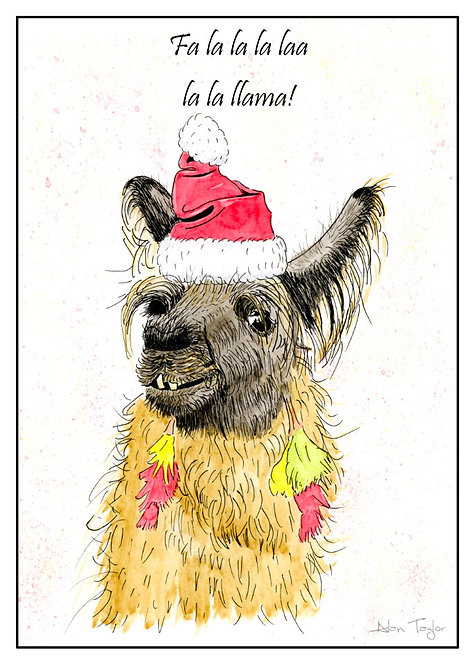 """Ramases"" Llama  5 Xmas Greeting Cards A6 when folded, with envelopes."