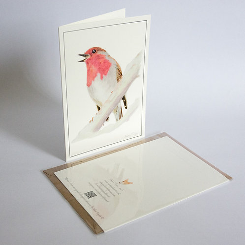 """""""Robin"""" 5 Greeting Cards A6 when folded, with envelopes."""