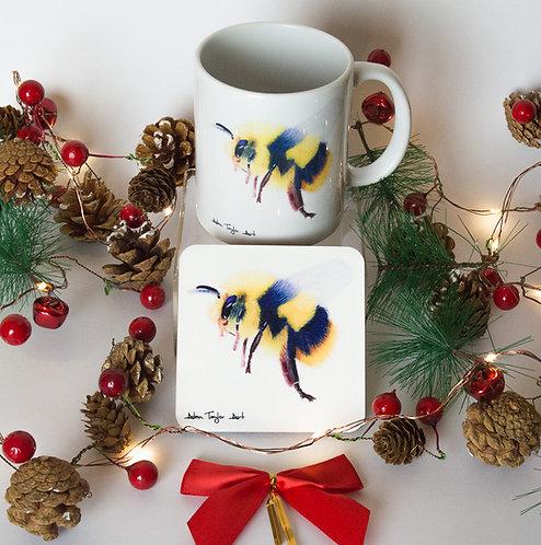 Flight of the Bumblebee on Ceramic Mug with Coaster