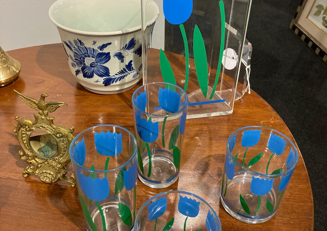 Tulip Drink Set, pitcher and glasses, 13 pieces