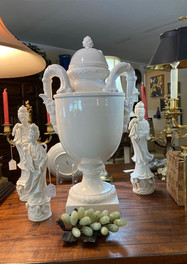 Blanc de Chine Asian Lady, assorted sizes/ Italian White urn w/ lid