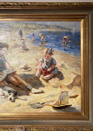 """Children at the Beach"", OOC, signed"