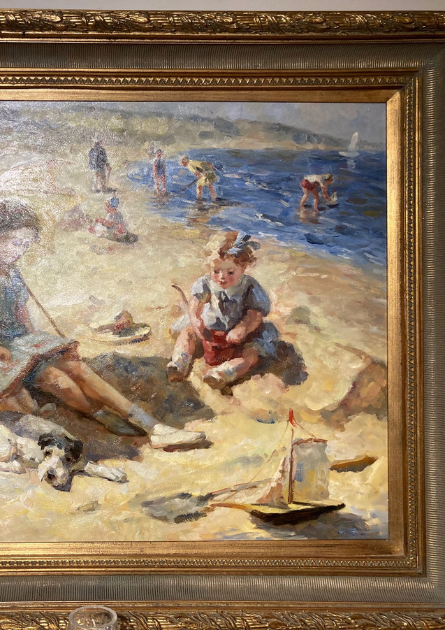 """""""Children at the Beach"""", OOC, signed"""