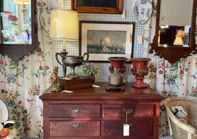 "New England ""low boy"", Mahogany & white pine c.1750-1770/ NC homemade pottery, Raku fired/ NC 19th century portrait, yellow pine frame/ NC walnut chippendale mirror, bench made"