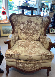 Vintage French inspired chair, Toile fabric, Fogle furniture, Winsten-Salem