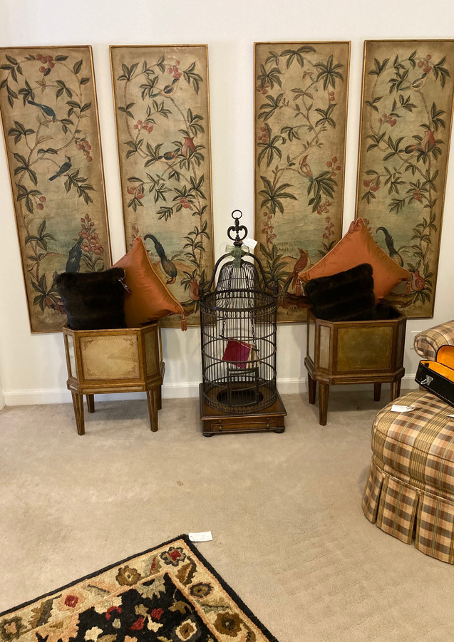 """Carpet Runner, 29""""W x 8""""L/ Antique wood/iron Bird Cage, Theodore Alexander/ Brown fur pillows, 23""""W x 13""""L/ Gold Planters w/ brass insects, Theodore Alexander"""