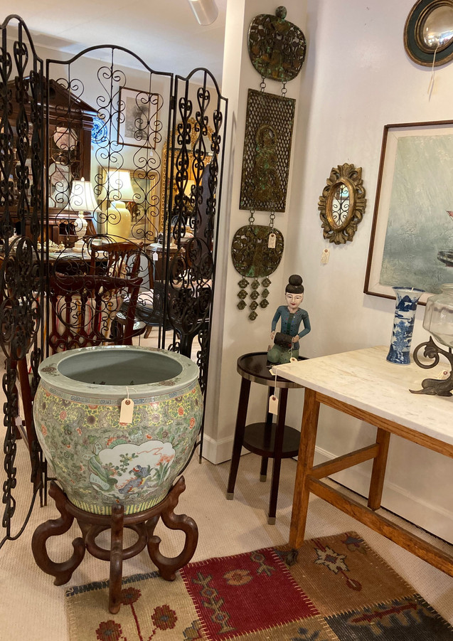 Fish Bowl on stand, great detail with raised enamel/ Wrought iron screen (C. 1960)/ Kitchen Island, rolling w/ old marbletop/ Art Deco fishstand w/ bowl