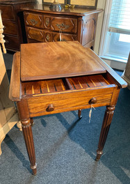 Backgammon side table w/ drawer and reeded legs