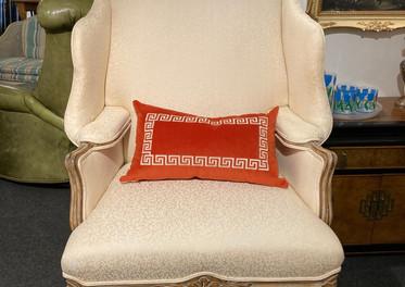 Wingback chair, unusual large/ Greek Key Pillow