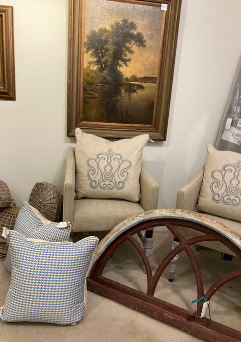 Houndstooth pillows, blue ivory/ Wooden arched window pane/ Dining chairs, Bair Alder, Tweed Herringbone
