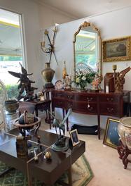 Sideboard/ Asian Elders/ Bronze Cranes on marble base/ Magda mahogany cocktail table, Bernhardt Furniture