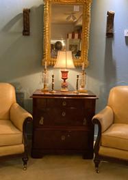 Leather Bergeres, pair Lillian August/ Biedermeir 3 drawer commode (c. 1835)/ Federal mirror (c.1820)