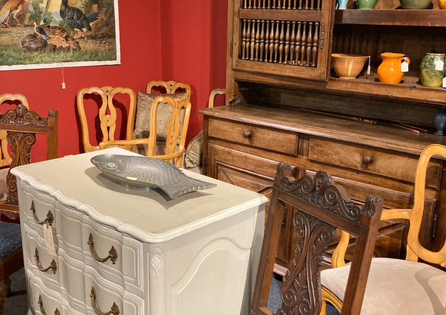 Louis XV style 3 drawer commode, Davis Cabinet Co. (Nashville, TN)/ French (Brittany) Food (c. 1770) hand carved, pegged construction/ English chairs (c. 1900) carved, pair/ Italian Dining Chairs, set of six, carved w/ genuine suede seats