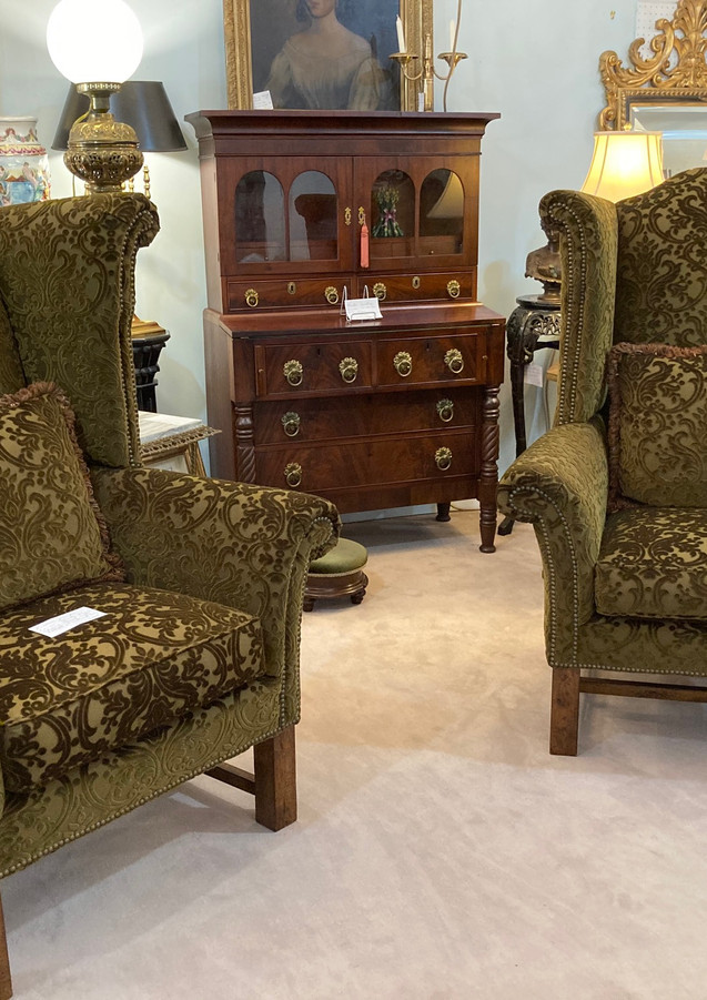 Wing Chairs, large scale, Burn Out Velvet & Nailhead Trim/ Secretary, American Sheraton, Mahogany, c. 1810-1820, original brass pulls & back plates
