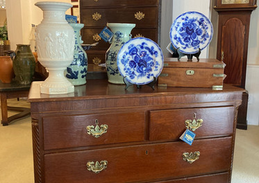English oak chest c. 1835, 2 over 2/ Wedgewood flow blue plate/ Thomas Morgan case clock/ English Chippendale chest on chest, Blind fretwork, chamfered corners, frieze c. 1780