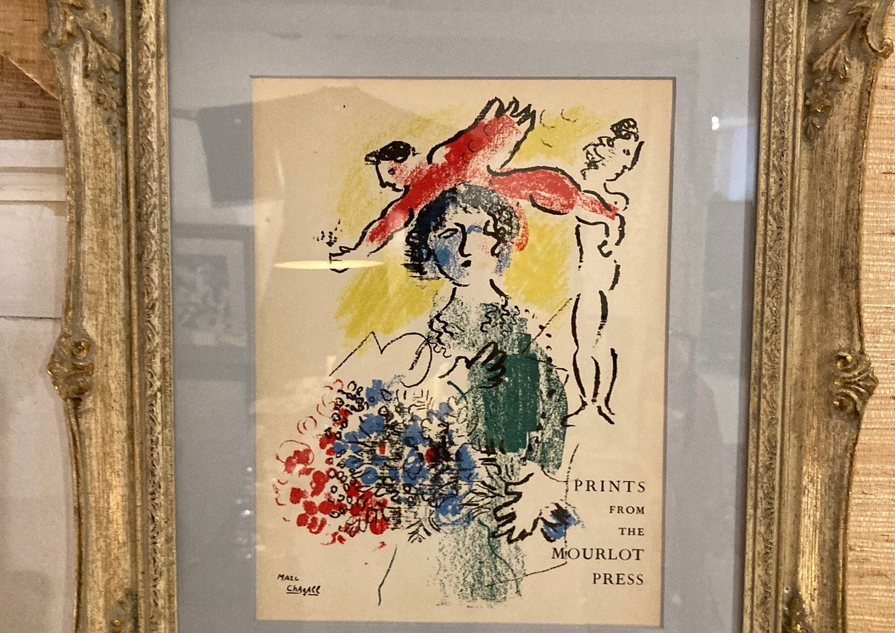 """Original Stone Lithograph, Marc Chagall, """"Exhibition Catologue Cover"""". Ref. mourner #415"""