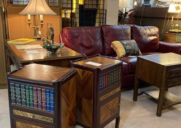 Tables de chevet, pair, Louis XV style/ Leather sofa, Bradington-Young/ Slight, Kneehole desk, George III style